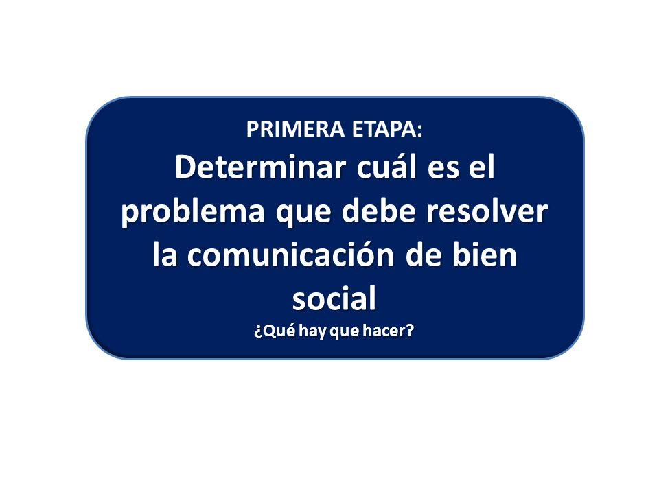Determinar cuál es el problema que debe resolver la comunicación de bien social PRIMERA ETAPA: Determinar cuál es el problema que debe resolver la comunicación de bien social ¿Qué hay que hacer?