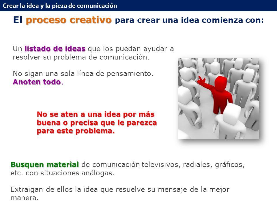 proceso creativo El proceso creativo para crear una idea comienza con: listado de ideas Un listado de ideas que los puedan ayudar a resolver su problema de comunicación.
