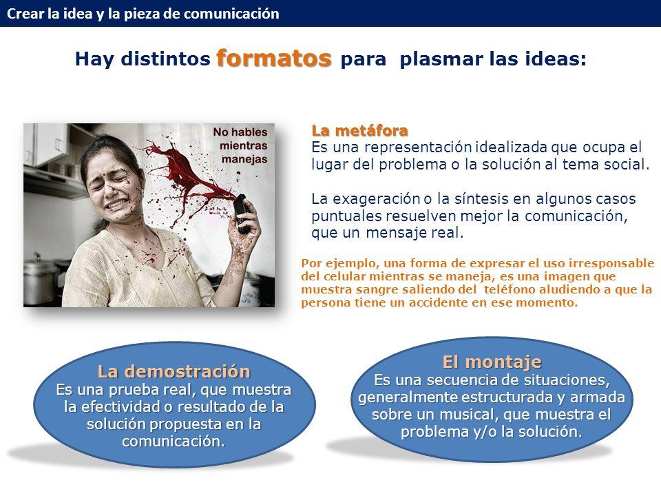 formatos Hay distintos formatos para plasmar las ideas: La metáfora Es una representación idealizada que ocupa el lugar del problema o la solución al tema social.