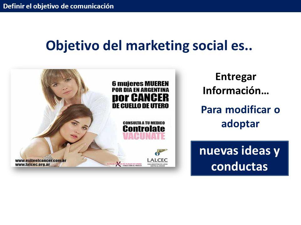 Definir el objetivo de comunicación Objetivo del marketing social es..