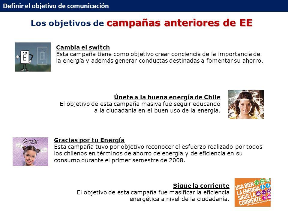 campañas anteriores de EE Los objetivos de campañas anteriores de EE Definir el objetivo de comunicación Gracias por tu Energía Esta campaña tuvo por objetivo reconocer el esfuerzo realizado por todos los chilenos en términos de ahorro de energía y de eficiencia en su consumo durante el primer semestre de 2008.