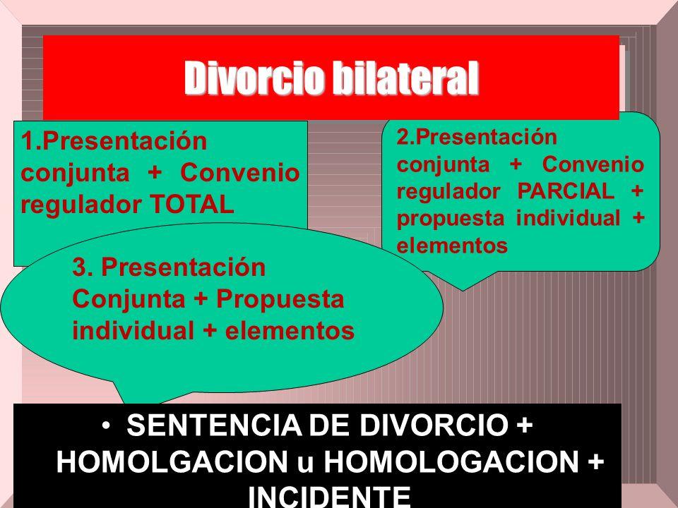 1.Presentación conjunta + Convenio regulador TOTAL 2.Presentación conjunta + Convenio regulador PARCIAL + propuesta individual + elementos Divorcio bi