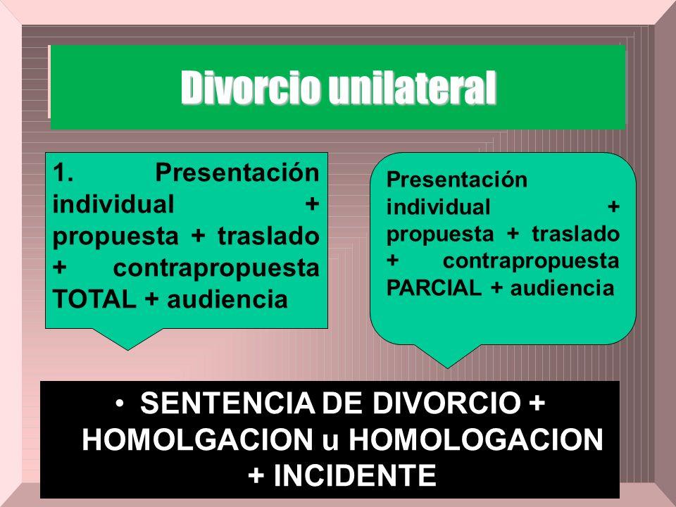 Divorcio unilateral SENTENCIA DE DIVORCIO + HOMOLGACION u HOMOLOGACION + INCIDENTE 1. Presentación individual + propuesta + traslado + contrapropuesta