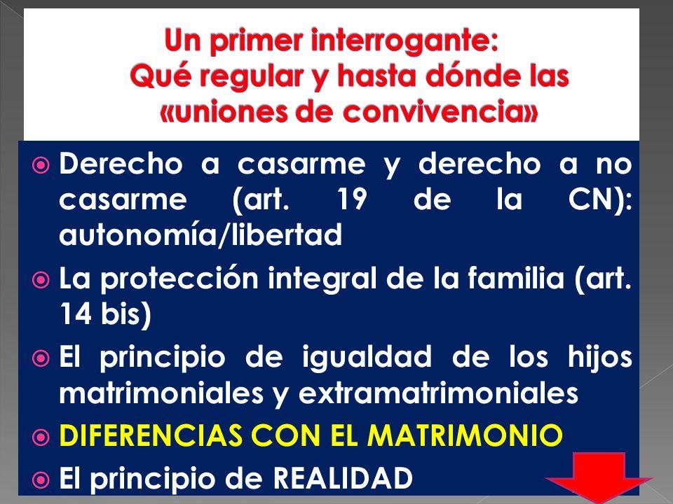 Derecho a casarme y derecho a no casarme (art. 19 de la CN): autonomía/libertad La protección integral de la familia (art. 14 bis) El principio de igu