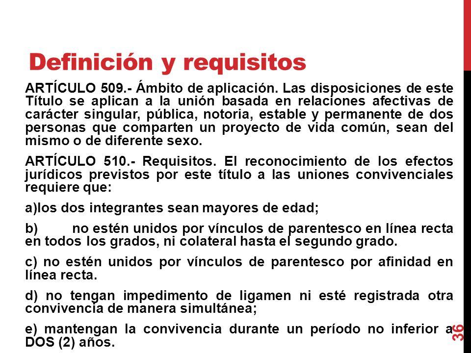 Definición y requisitos ARTÍCULO 509.- Ámbito de aplicación. Las disposiciones de este Título se aplican a la unión basada en relaciones afectivas de