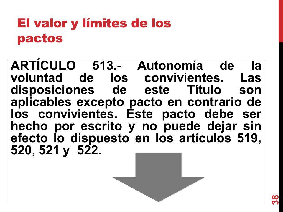 El valor y límites de los pactos ARTÍCULO 513.- Autonomía de la voluntad de los convivientes. Las disposiciones de este Título son aplicables excepto