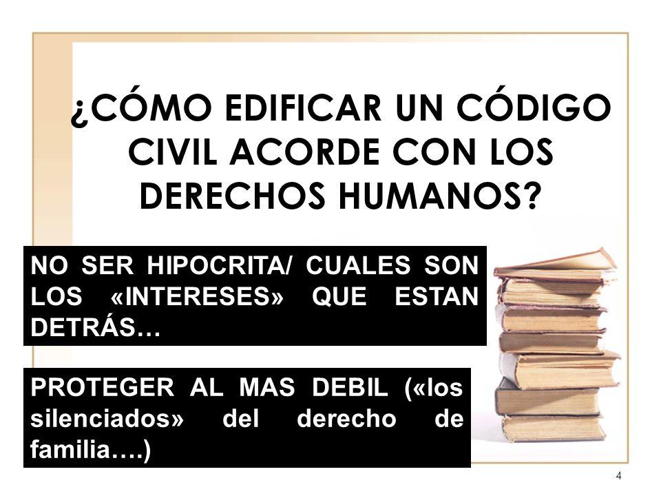 ¿CÓMO EDIFICAR UN CÓDIGO CIVIL ACORDE CON LOS DERECHOS HUMANOS? NO SER HIPOCRITA/ CUALES SON LOS «INTERESES» QUE ESTAN DETRÁS… PROTEGER AL MAS DEBIL (