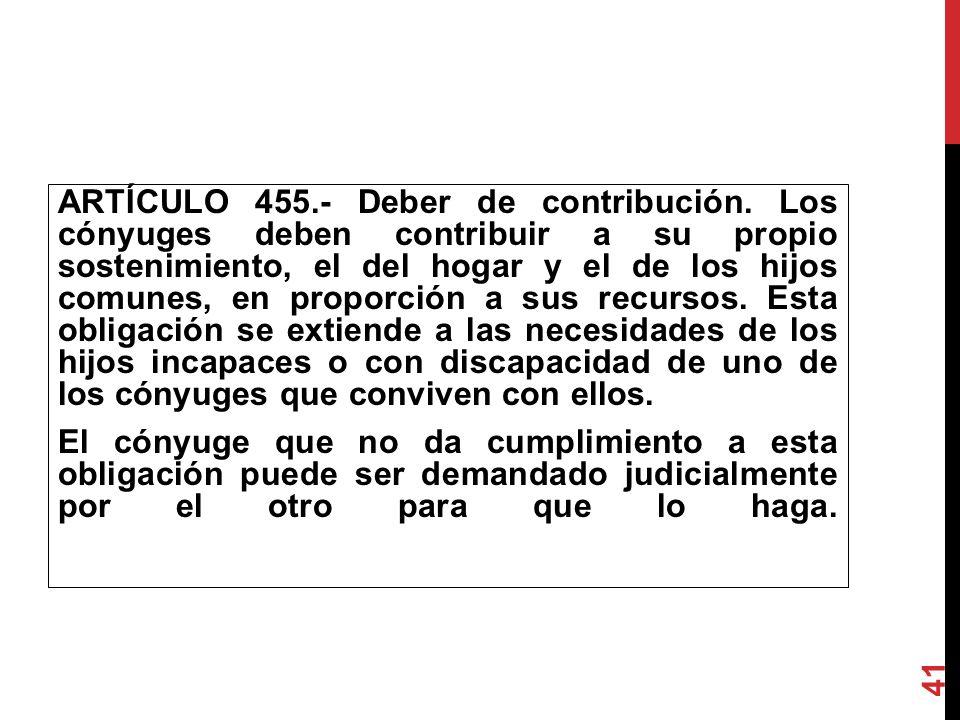 ARTÍCULO 455.- Deber de contribución. Los cónyuges deben contribuir a su propio sostenimiento, el del hogar y el de los hijos comunes, en proporcio