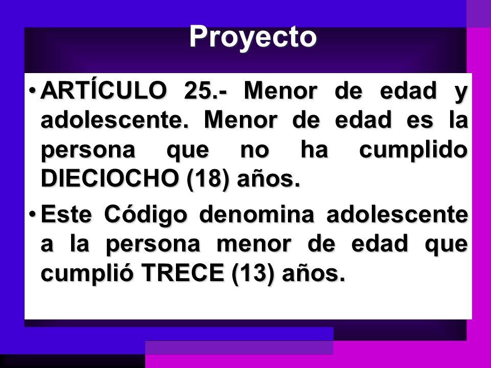 Proyecto ARTÍCULO 25.- Menor de edad y adolescente. Menor de edad es la persona que no ha cumplido DIECIOCHO (18) años.ARTÍCULO 25.- Menor de edad