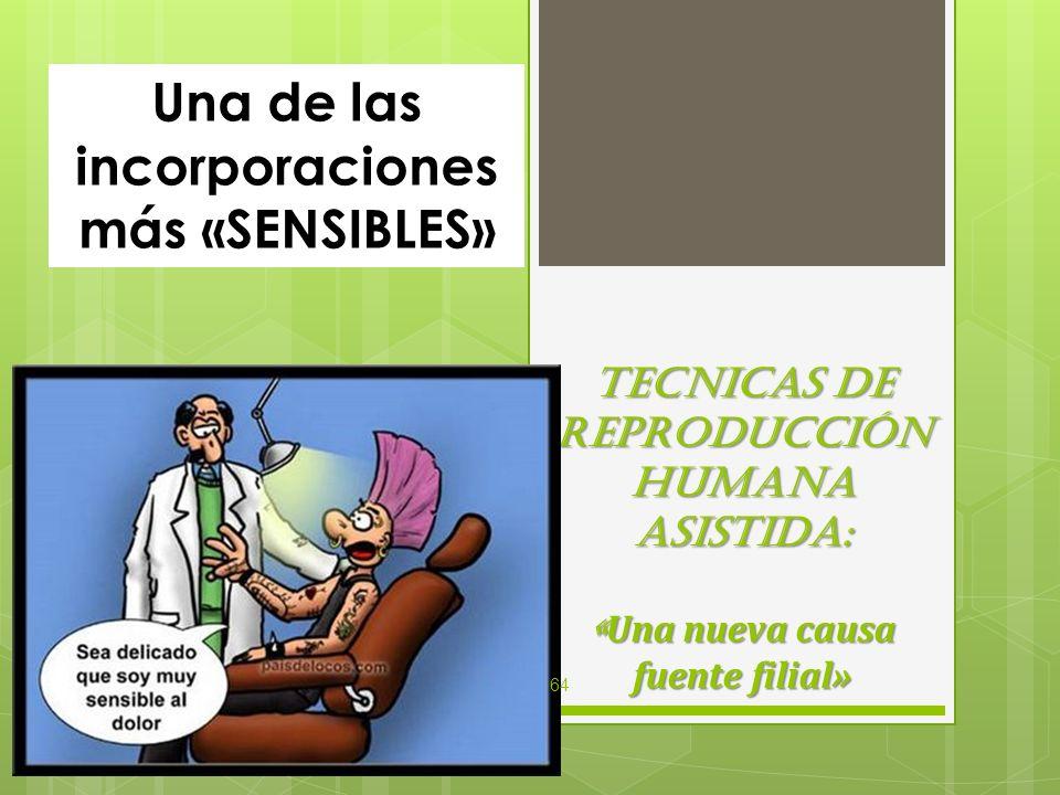 TECNICAS DE REPRODUCCIÓN HUMANA ASISTIDA: « Una nueva causa fuente filial» Una de las incorporaciones más «SENSIBLES» 64