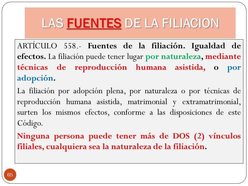LAS FUENTES DE LA FILIACION 65 ARTÍCULO 558.- Fuentes de la filiación. Igualdad de efectos. La filiación puede tener lugar por naturaleza, mediante té