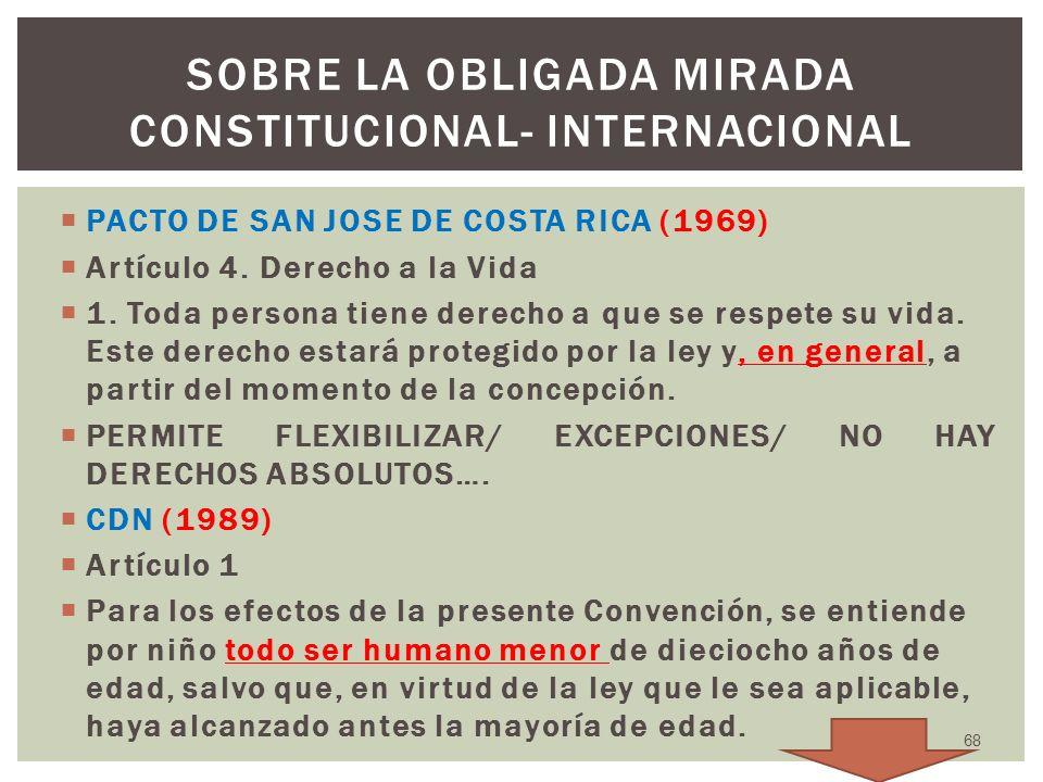 PACTO DE SAN JOSE DE COSTA RICA (1969) Artículo 4. Derecho a la Vida 1. Toda persona tiene derecho a que se respete su vida. Este derecho estará prote