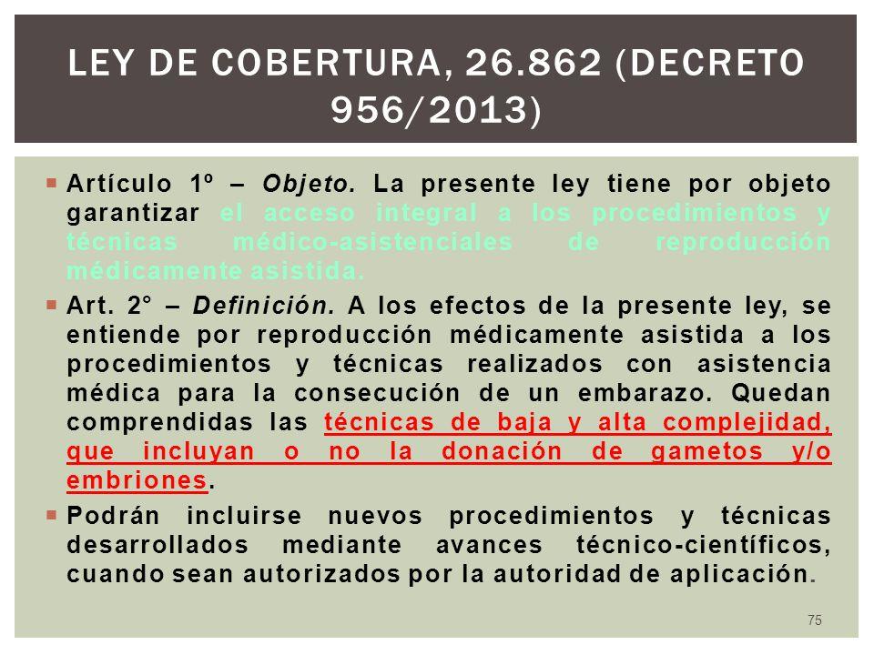Artículo 1º – Objeto. La presente ley tiene por objeto garantizar el acceso integral a los procedimientos y técnicas médico-asistenciales de reproducc