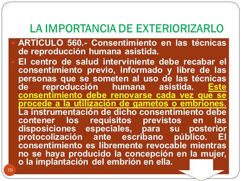 LA IMPORTANCIA DE EXTERIORIZARLO ARTÍCULO 560.- Consentimiento en las técnicas de reproducción humana asistida. El centro de salud interviniente debe