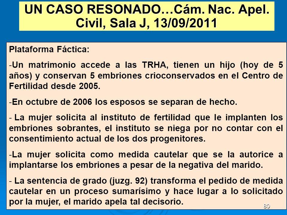 UN CASO RESONADO…Cám. Nac. Apel. Civil, Sala J, 13/09/2011 Plataforma Fáctica: -Un matrimonio accede a las TRHA, tienen un hijo (hoy de 5 años) y cons