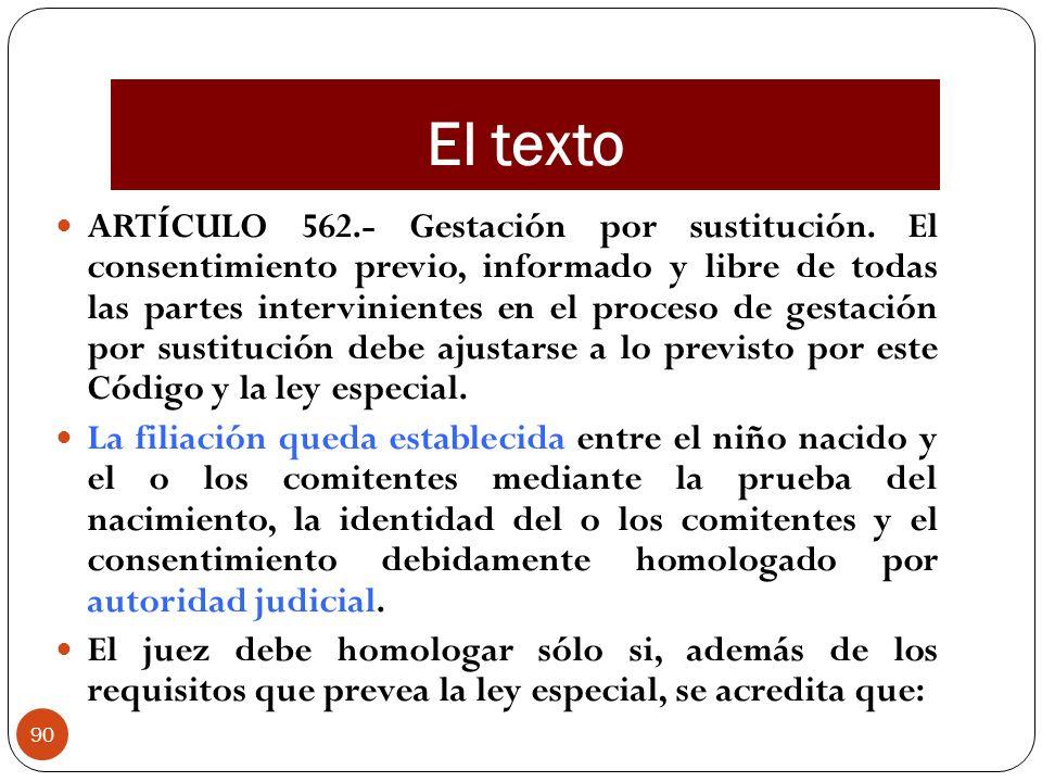 El texto ARTÍCULO 562.- Gestación por sustitución. El consentimiento previo, informado y libre de todas las partes intervinientes en el proceso de ges