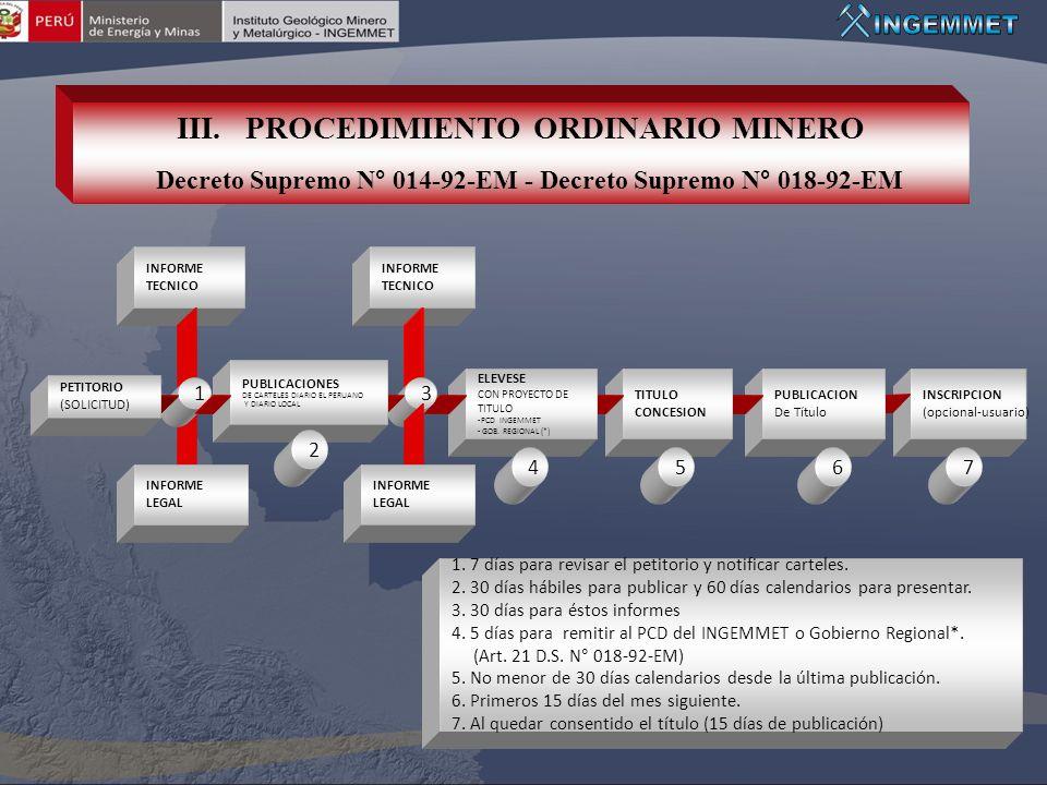 III. PROCEDIMIENTO ORDINARIO MINERO Decreto Supremo N° 014-92-EM - Decreto Supremo N° 018-92-EM INFORME TECNICO INFORME TECNICO INSCRIPCION (opcional-