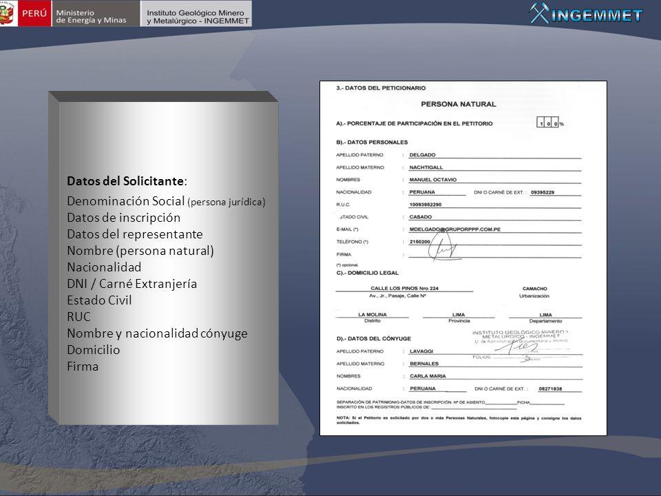 Datos del Solicitante: Denominación Social (persona jurídica) Datos de inscripción Datos del representante Nombre (persona natural) Nacionalidad DNI /