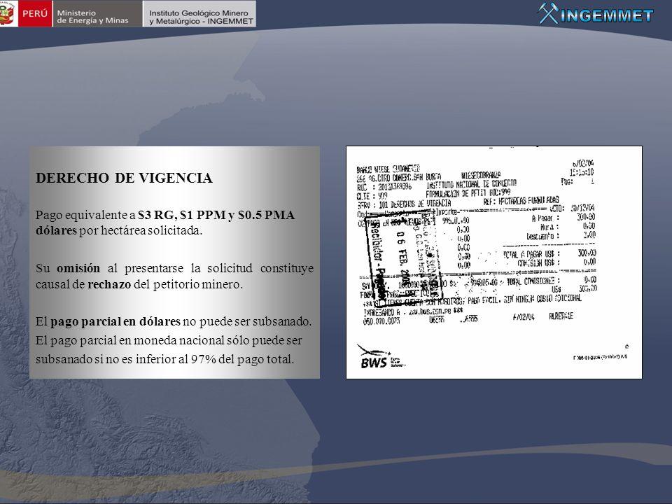 DERECHO DE VIGENCIA Pago equivalente a $3 RG, $1 PPM y $0.5 PMA dólares por hectárea solicitada. Su omisión al presentarse la solicitud constituye cau