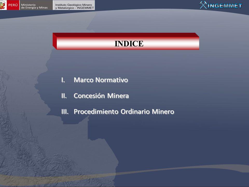I.Marco Normativo II.Concesión Minera III.Procedimiento Ordinario Minero INDICE
