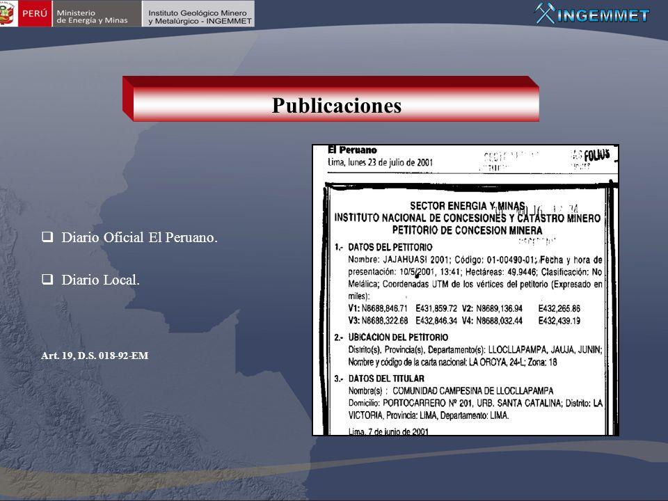 Diario Oficial El Peruano. Diario Local. Art. 19, D.S. 018-92-EM Publicaciones
