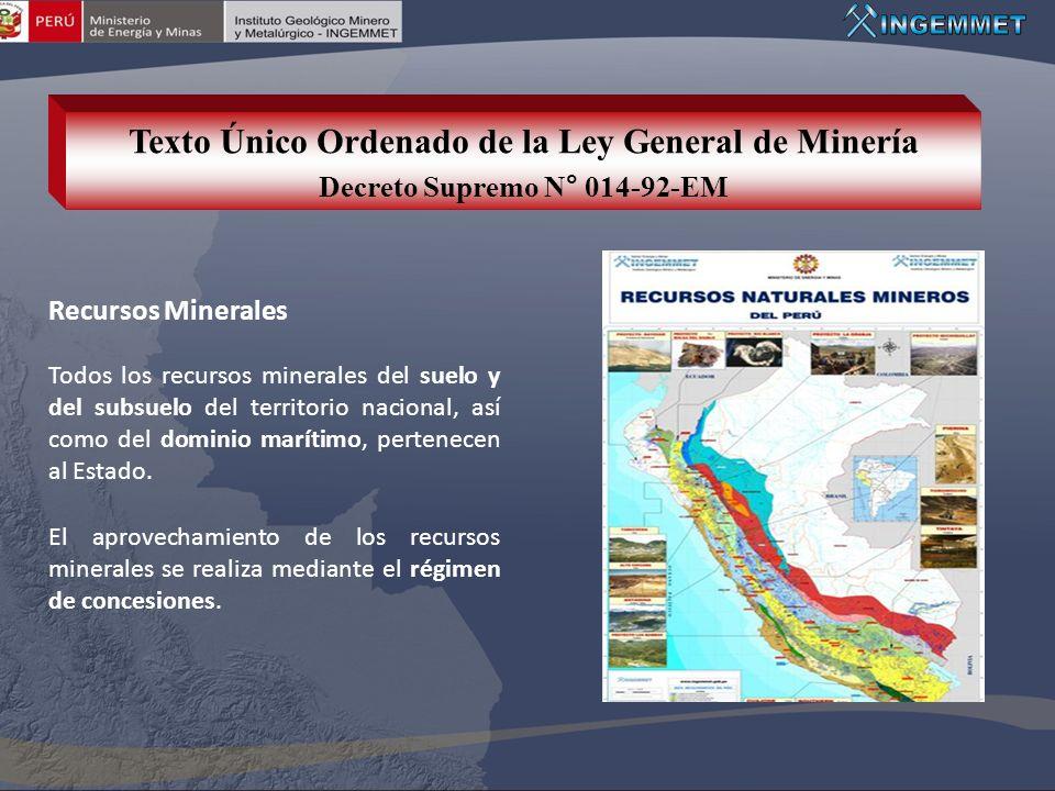 Recursos Minerales Todos los recursos minerales del suelo y del subsuelo del territorio nacional, así como del dominio marítimo, pertenecen al Estado.