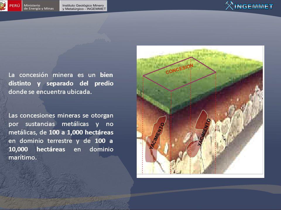 YACIMIENTO CONCESION La concesión minera es un bien distinto y separado del predio donde se encuentra ubicada. Las concesiones mineras se otorgan por