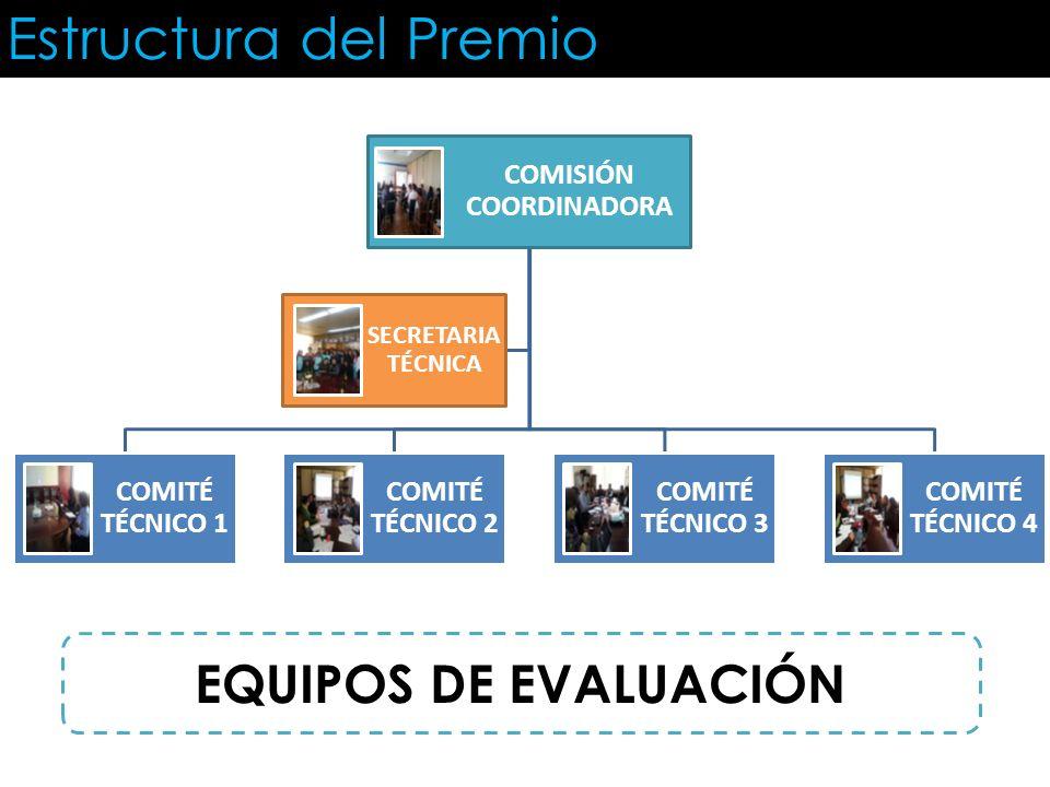 Estructura del Premio COMISIÓN COORDINADORA COMITÉ TÉCNICO 1 COMITÉ TÉCNICO 2 COMITÉ TÉCNICO 3 COMITÉ TÉCNICO 4 SECRETARIA TÉCNICA EQUIPOS DE EVALUACI