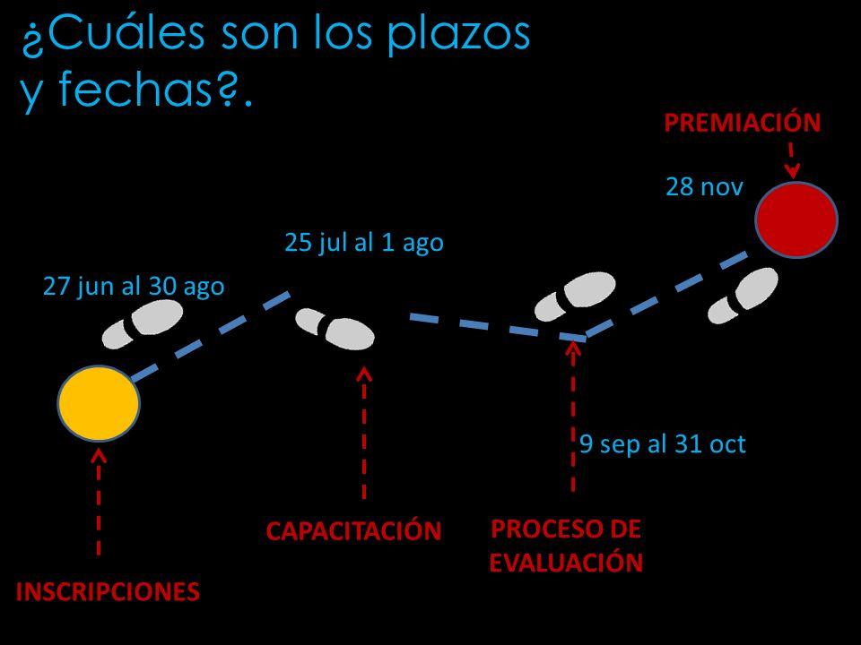 Creación 27 jun al 30 ago 9 sep al 31 oct 25 jul al 1 ago 28 nov INSCRIPCIONES CAPACITACIÓN PROCESO DE EVALUACIÓN PREMIACIÓN ¿Cuáles son los plazos y