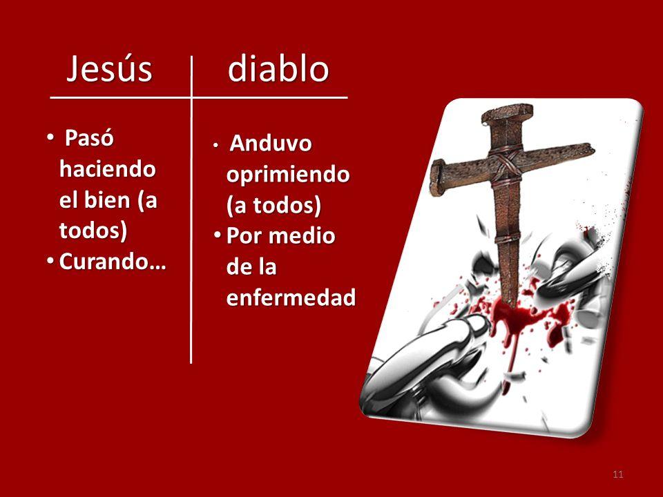 11 Jesús diablo Jesús diablo Pasó haciendo el bien (a todos) Pasó haciendo el bien (a todos) Curando… Curando… Anduvo oprimiendo (a todos) Anduvo opri