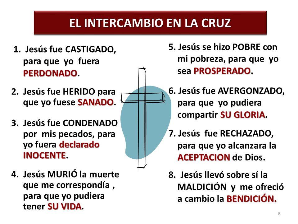EL INTERCAMBIO EN LA CRUZ PERDONADO 1. Jesús fue CASTIGADO, para que yo fuera PERDONADO. SANADO 2. Jesús fue HERIDO para que yo fuese SANADO. declarad