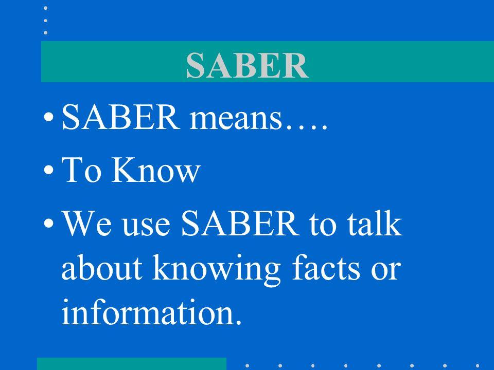 SABER vs. CONOCER Page 14 – Lección Preliminar Avancemos 3