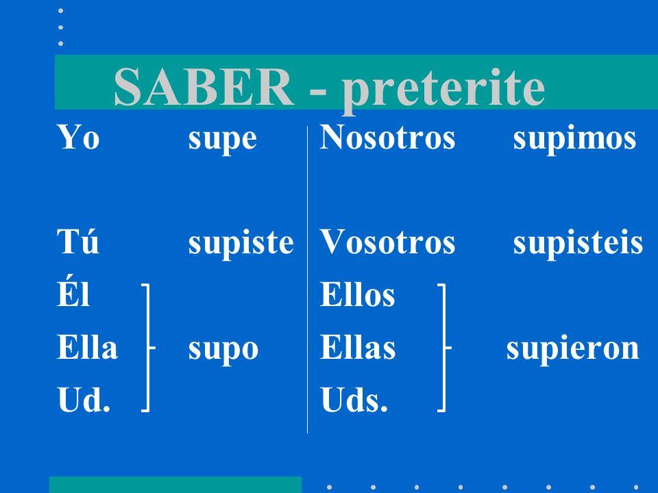 SABER - present Yosé Túsabes Él Ellasabe Ud. Nosotros sabemos Vosotros sabéis Ellos Ellas saben Uds.