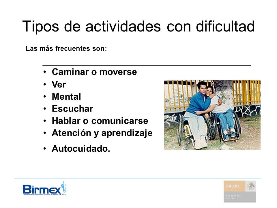 Tipos de actividades con dificultad Caminar o moverse Ver Mental Escuchar Hablar o comunicarse Atención y aprendizaje Autocuidado. Las más frecuentes