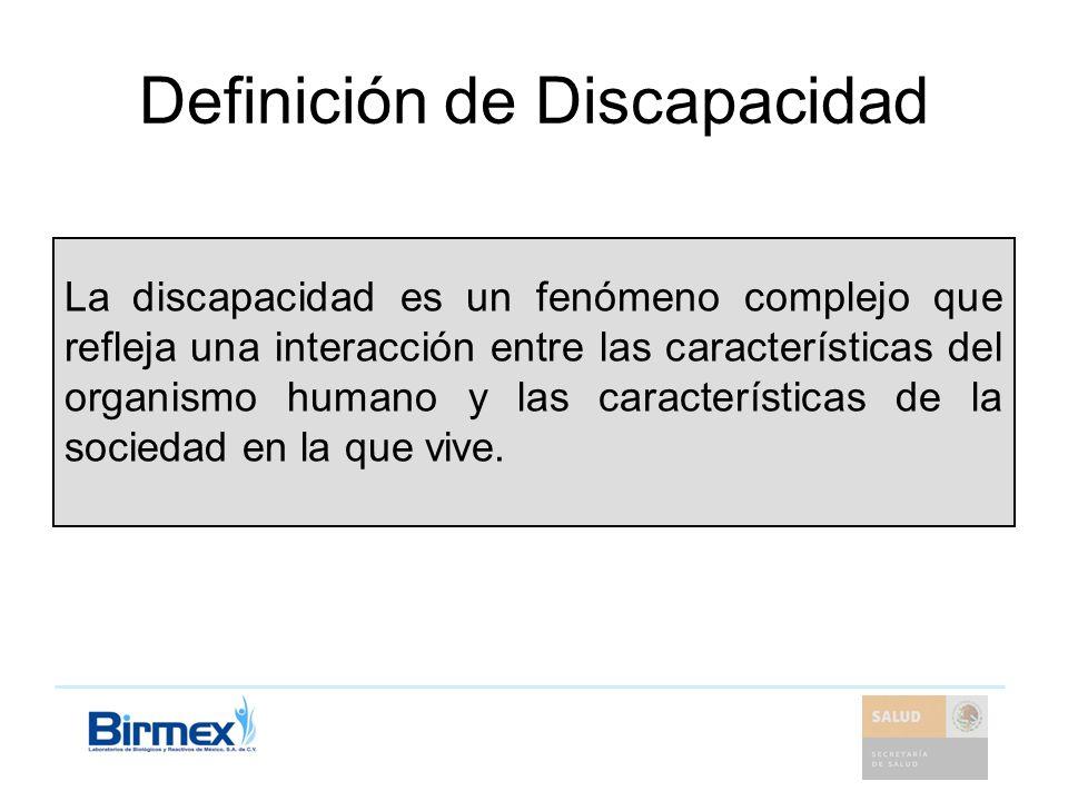 Definición de Discapacidad La discapacidad es un fenómeno complejo que refleja una interacción entre las características del organismo humano y las ca