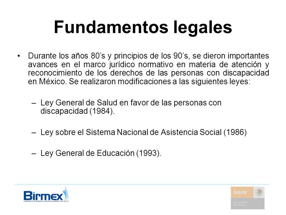 Fundamentos legales Durante los años 80s y principios de los 90s, se dieron importantes avances en el marco jurídico normativo en materia de atención