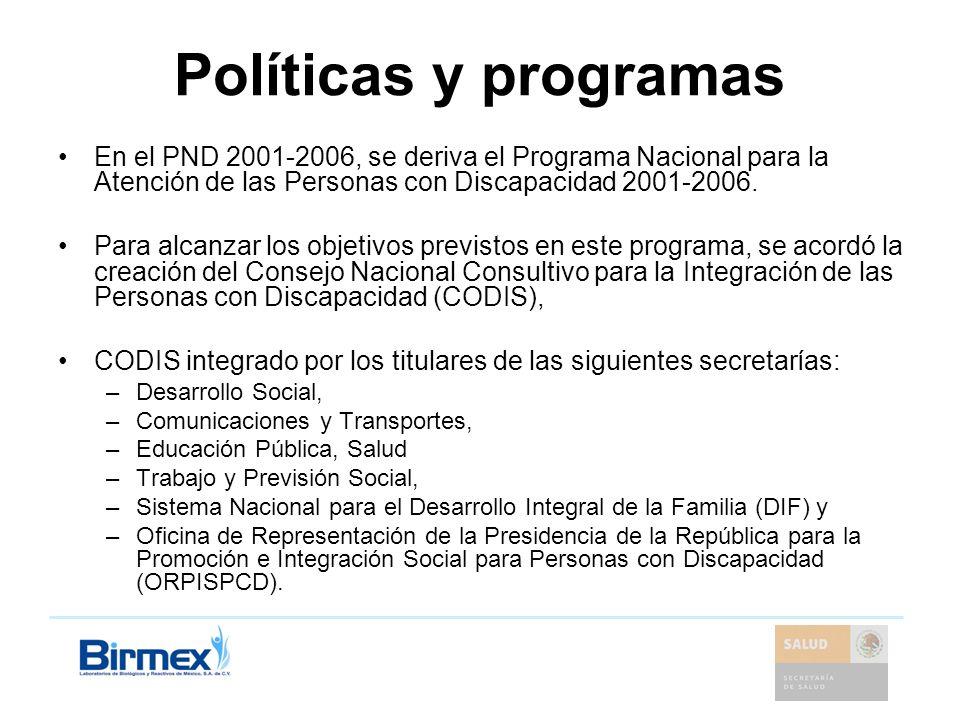 Políticas y programas En el PND 2001-2006, se deriva el Programa Nacional para la Atención de las Personas con Discapacidad 2001-2006. Para alcanzar l