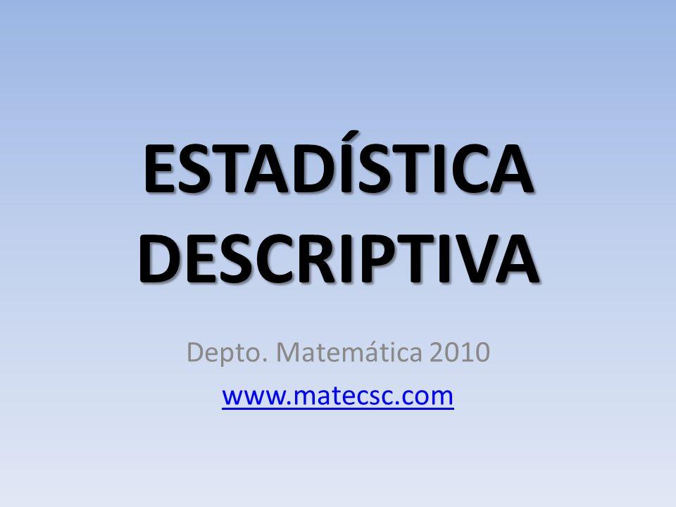 ESTADÍSTICA DESCRIPTIVA Depto. Matemática 2010 www.matecsc.com