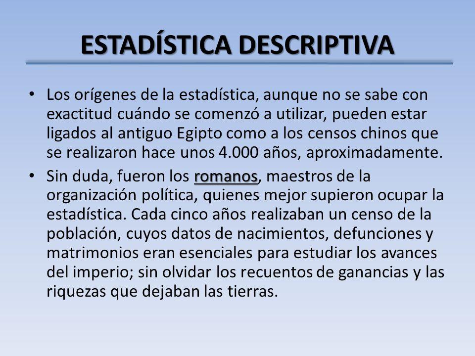 ESTADÍSTICA DESCRIPTIVA Los orígenes de la estadística, aunque no se sabe con exactitud cuándo se comenzó a utilizar, pueden estar ligados al antiguo
