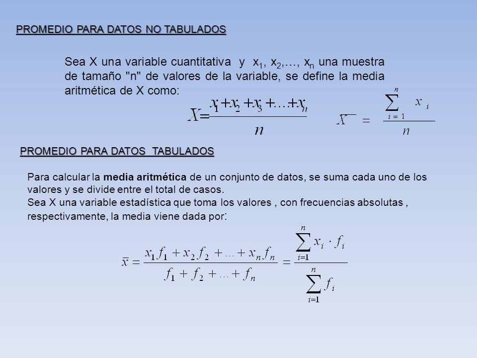 PROMEDIO PARA DATOS NO TABULADOS Sea X una variable cuantitativa y x 1, x 2,…, x n una muestra de tamaño