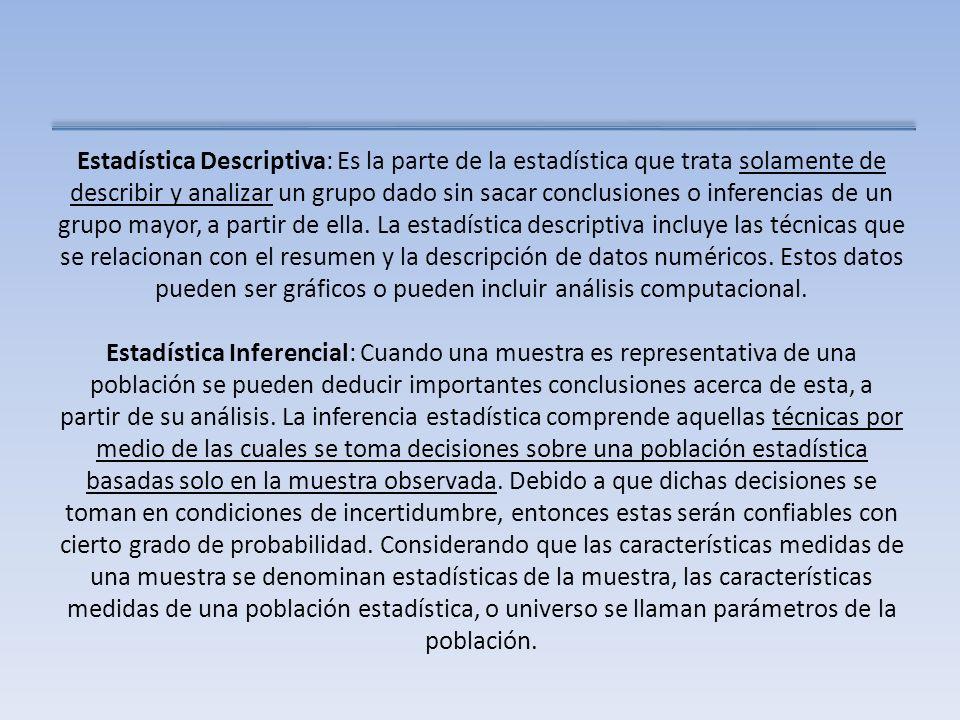 Estadística Descriptiva: Es la parte de la estadística que trata solamente de describir y analizar un grupo dado sin sacar conclusiones o inferencias