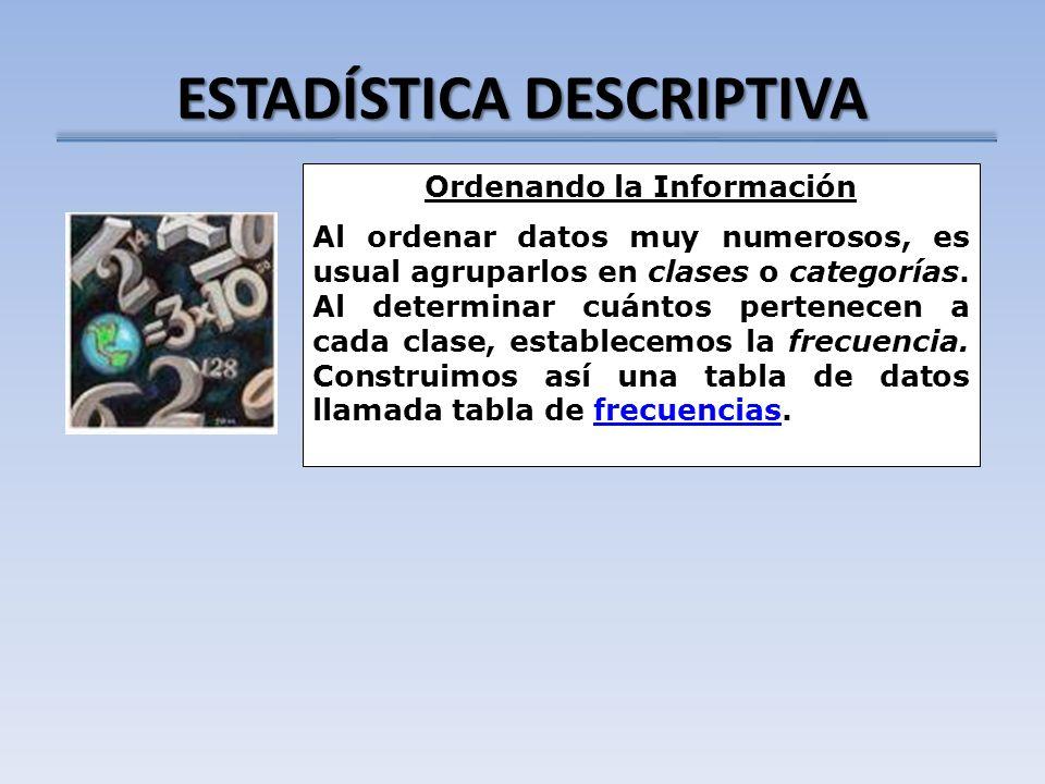 ESTADÍSTICA DESCRIPTIVA Ordenando la Información Al ordenar datos muy numerosos, es usual agruparlos en clases o categorías. Al determinar cuántos per