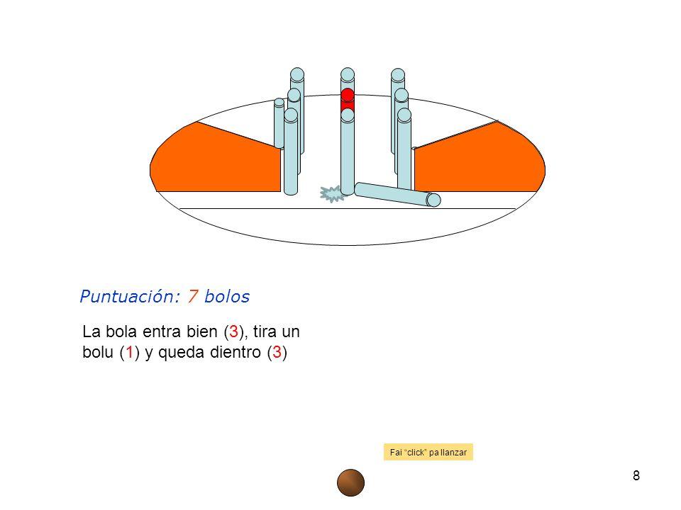 Puntuación: 7 bolos 8 La bola entra bien (3), tira un bolu (1) y queda dientro (3) Fai click pa llanzar