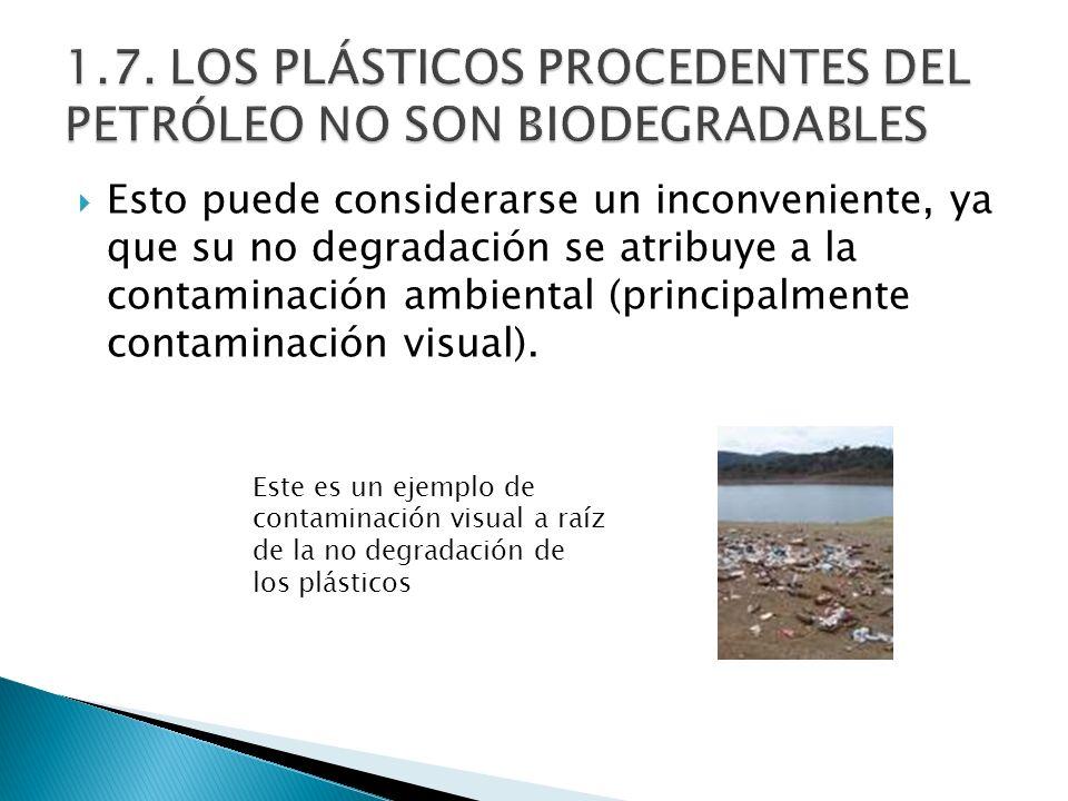 Esto puede considerarse un inconveniente, ya que su no degradación se atribuye a la contaminación ambiental (principalmente contaminación visual). Est