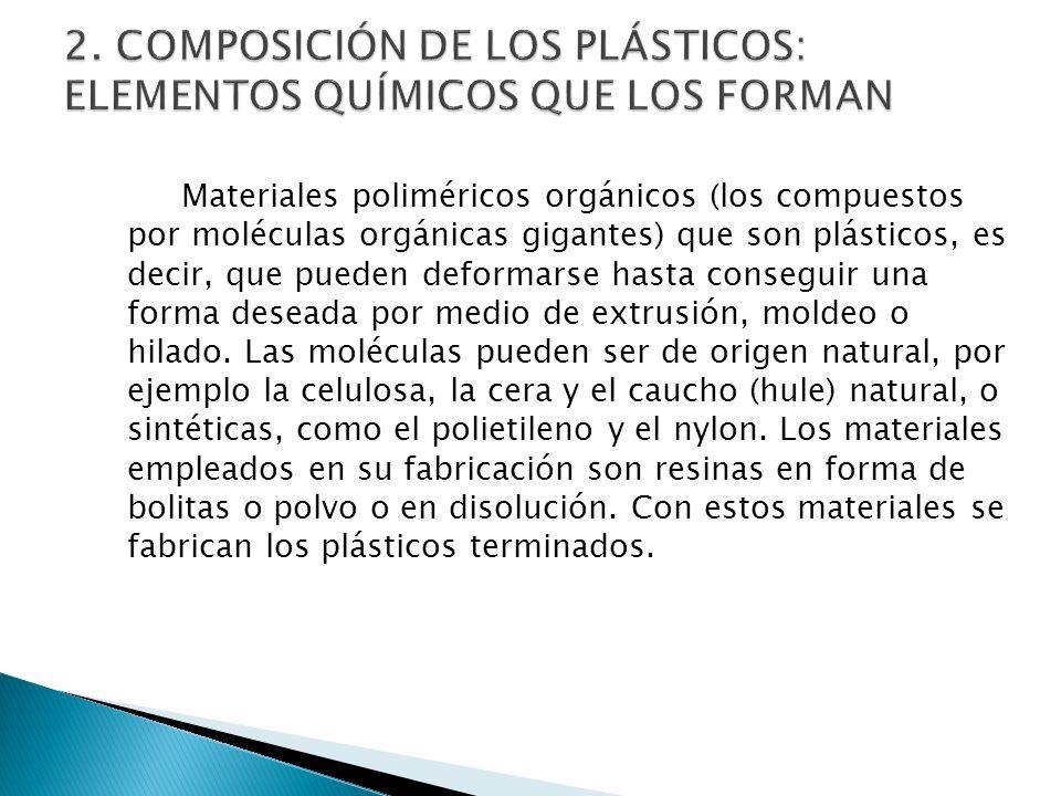 Materiales poliméricos orgánicos (los compuestos por moléculas orgánicas gigantes) que son plásticos, es decir, que pueden deformarse hasta conseguir