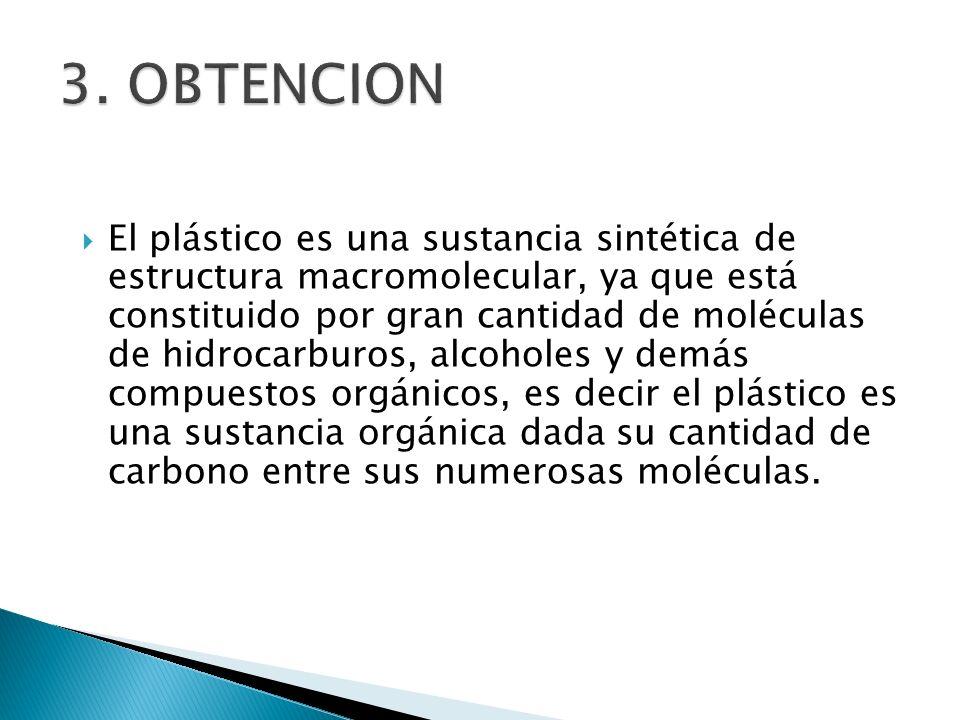 El plástico es una sustancia sintética de estructura macromolecular, ya que está constituido por gran cantidad de moléculas de hidrocarburos, alcohole