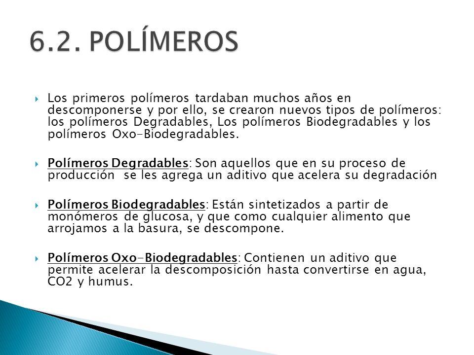 Los primeros polímeros tardaban muchos años en descomponerse y por ello, se crearon nuevos tipos de polímeros: los polímeros Degradables, Los polímero