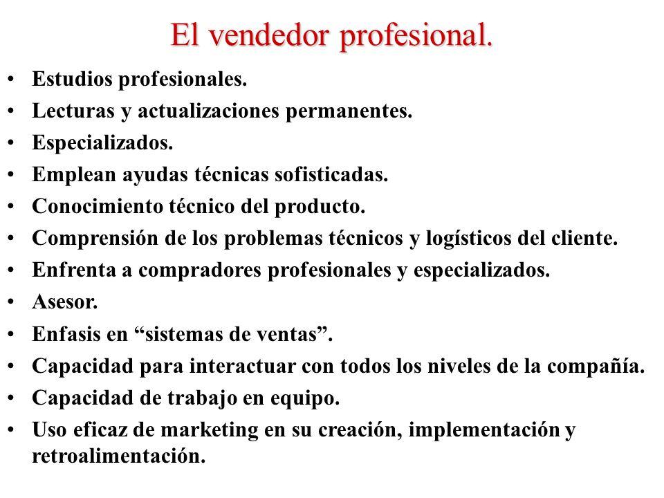 El vendedor profesional. Estudios profesionales. Lecturas y actualizaciones permanentes. Especializados. Emplean ayudas técnicas sofisticadas. Conocim