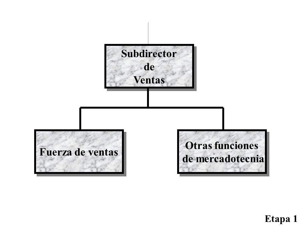 Subdirector de Ventas Subdirector de Ventas Fuerza de ventas Otras funciones de mercadotecnia Otras funciones de mercadotecnia Etapa 1