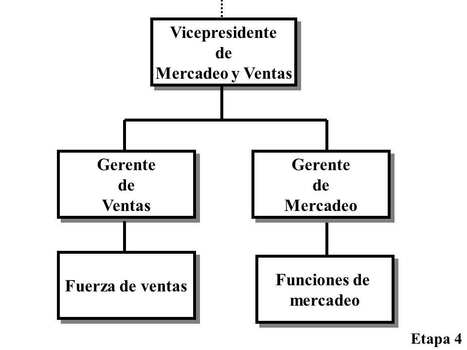 Gerente de Ventas Gerente de Ventas Fuerza de ventas Etapa 4 Gerente de Mercadeo Gerente de Mercadeo Funciones de mercadeo Funciones de mercadeo Vicep